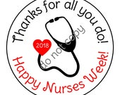 INSTANT DOWNLOAD Nurse Appreciation Week Gift Nurses rn Thank You Stickers, Tags, LabelsPrinted & Shipped or DIY