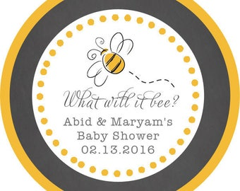 DIY Printable File- What will it bee? Gender Reveal Baby Shower Bee Thank You Stickers, Tags, Labels- Avery Label 22807
