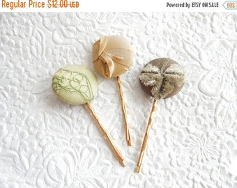 CLEARANCE - Green beige hair-pins, embroidered hairpins, fabric hairpins, 1 1/8 inch hairpins, hair accessory, womens accessory