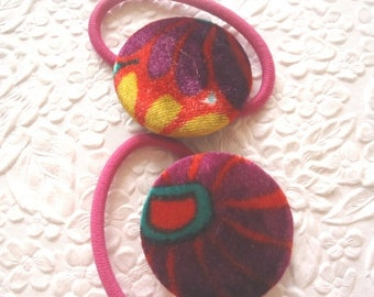 CLEARANCE - 2 pink multi velvet ponytail holders scrunchies -- hair accessory occasion party