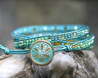 Aqua Blue, Gold Beaded Triple Wrap Bracelet, 3x Leather Wrap, Bohemian Wrap Bracelet, Beaded Leather Wrap Bracelet, Flower Button Bracelet