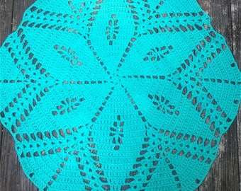 "Aqua Jade Cotton Crochet Rug in 36"" Non Skid READY to SHIP"