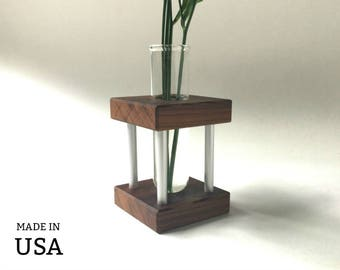 Small Modern Bud Vase in Wood and Metal - Small Vase - Small Modern Vase - Light Wood - Dark Wood - Medium Wood