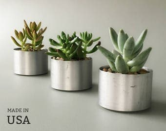 Metal Succulent Planters, Round Indoor Planters, Gift for Gardeners, Nature Lovers, Bright Silver Tone Recycled Metal Accent Pots
