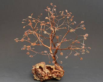 Hand Twisted Metal Copper Wire Tree Art Sculpture  - 2294 - FREE SHIPPING