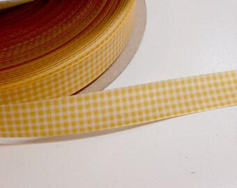 Yellow Gingham Ribbon, Jonquil Yellow Satin-Back Ribbon 5/8 inch wide x 10 yards