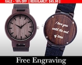 Engraved Watch, father's day, Wood Watch, Engraved Wood Watch, Wooden Watch, Ebony Wood, Personalized Gift, Christmas, Gifts For Him