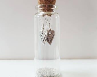 Heart on Heart Earrings In A Little Bottle
