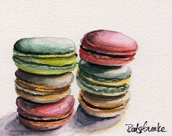 ACEO Macarons cookie pastry food art colorful ORIGINAL watercolor painting by Redstreake