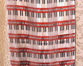 Vintage Piano Keyboard Scarf Retro Music Musician Musical Notes 60 x 14 Long Gift Free US Shipping