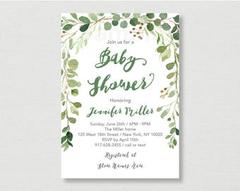 Rustic Green Floral Baby Shower Invitation / Floral Baby Shower / Watercolor Floral / Watercolor Leaves / Gender Neutral / PRINTABLE A178