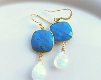 Turquoise And Moonstone Drop Earrings Gold