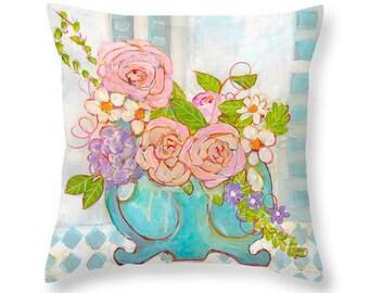 Floral Throw Pillow, Botanical, Art Pillow, Daisies, Roses, Blue, Pink, Purple, Vase, Cotton Pillow