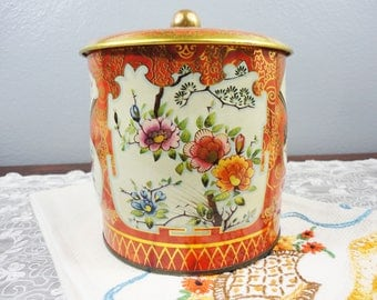 Vintage English Round / Can Shaped Tin - Orange Background with Oriental Floral Design