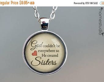 ON SALE - God Created Sisters Quote jewelry. Necklace, Pendant or Keychain Key Ring. Perfect Gift Present. Glass dome metal charm by HomeStu