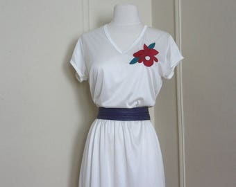 1980s white satin rose disco dress - Amazon goddess, khaleesi,1970s to 80s -  vintage size 13, medium to large