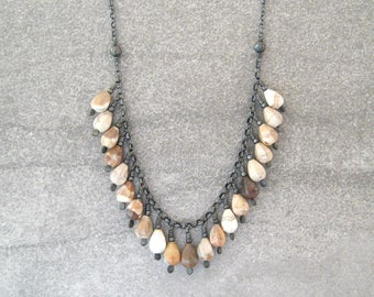 jasper and silver necklace, wire wrap rustic necklace, boho stone necklace, earthtone necklace, charm style necklace, chunky necklace