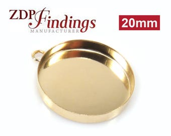 2pcs x Round 20mm Bezel Cup Pendand 14k Gold Filled (RD201GF)