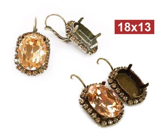 Oval 18x13mm Bezel Dangle Earrings Setting with Topaz Rhinestones Fit Swarovski 4120 Crystal, Choose Your Finish (LBOV18BTPV)