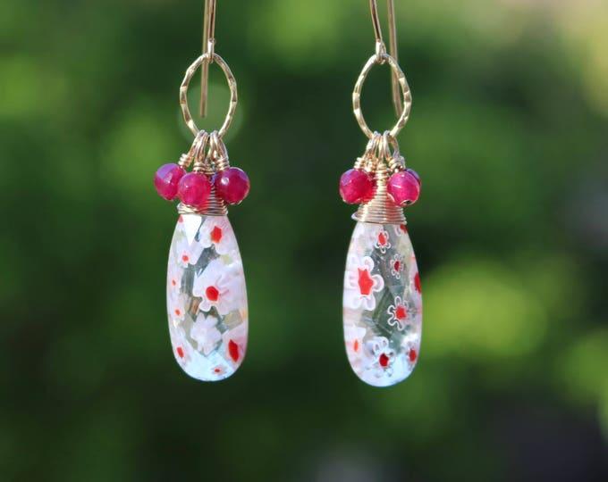 Flower Quartz and Garnet Earrings
