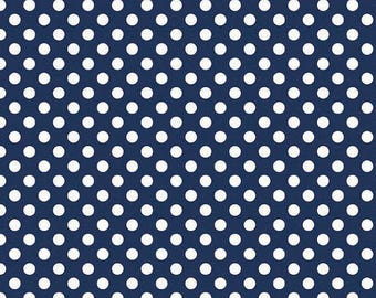 Riley Blake Navy Dot Fabric, 1 yard