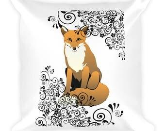 Fox & Scroll Design Pillow Cushion Home Decor Foxes Woodland Creature