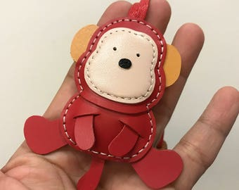 Small size - Kelvin the Monkey cowhide leather charm ( Red  )