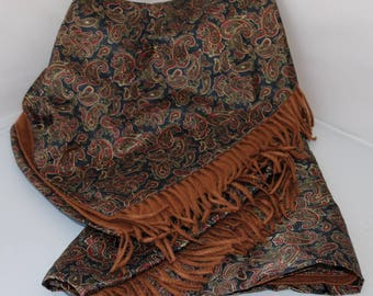 Handsome Silk Throw- Dark Paisley Throw- Fringe - Lined Throw- Black Brown Cranberry Tan- Rich Luxe Style- Sofa Bed Chair Accent - GIFT IDEA