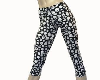 SALE m/l - Yoga Pants - Workout Clothes - Hot Yoga -TIghts - Fitness - Skull Capri - Skull Pants - Low Rise - Capri - SXY Fitness
