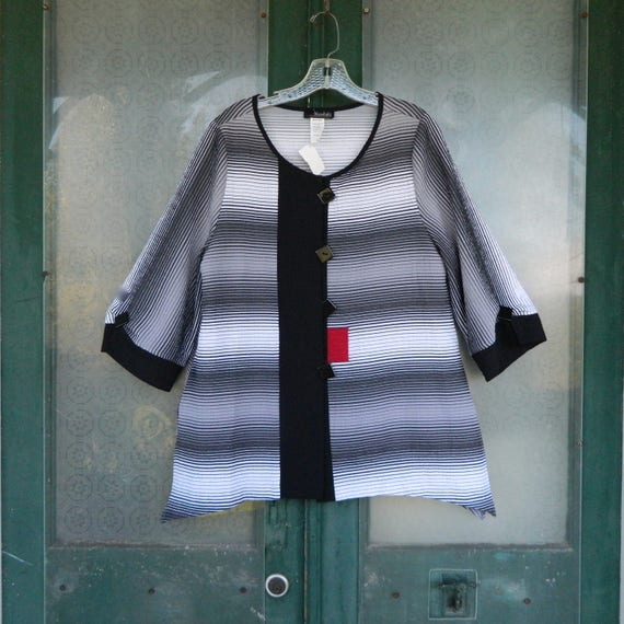 SALE - Moonlight Tunic Jacket -S- Black White Stripe with Red Rayon/Poly/Spandex NWT