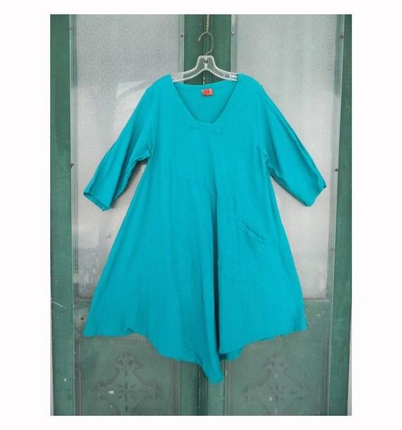 Oh My Gauze! 3/4 Sleeve Dress -OS- Teal Cotton Gauze