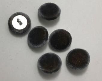 """Gray Gold SILK VELVET Fabric Buttons - Hand Made Buttons - set of 6 - 5/8"""""""
