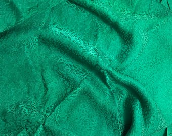 """Hand Dyed Emerald Green PEBBLES - Silk Jacquard Fabric - 9""""x22"""" remnant"""