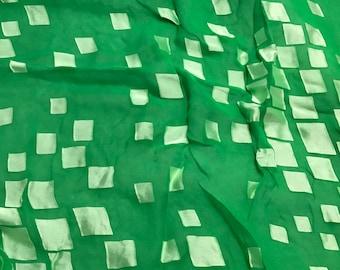 Burnout Devore Satin - Bright Kelly Green Hand Dyed Geometric- fat 1/4