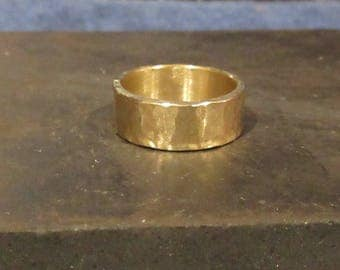 Polished Hammered Brass Ring.  Custom Order Ring.  Boho Industrial Wedding Band