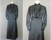 Vintage 1910s Black Silk Dress, fits 34 Bust, Antique Edwardian Titanic Era, Mourning