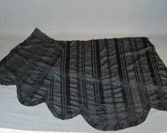 Antique Dress Remnant Black Silk Moire Taffeta from Skirt or Cape, Victorian 1800s Vintage Fabric