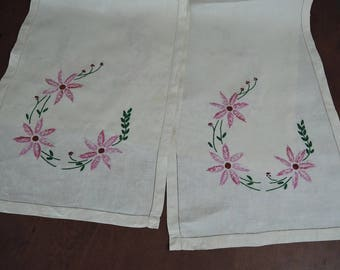 2 Vintage Embroidered Table Runners, Pink Floral 14x38 inches, Handmade 1940s Linens