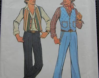 Christmas in July Vintage Simplicity Teen Boys Vest and Pants Pattern N 7725, Uncut, size 18 and 20, Date 1976
