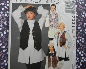 Christmas in July Vintage McCall's Ladies Lined Vest and Shirt Pattern #7231 Uncut, Large and Extra Large