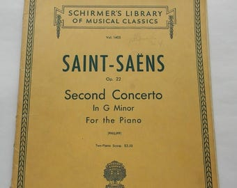 Close Out Sale Vintage Saint-Saens Op 22, Second Concerto in G Minor, Sheet Music