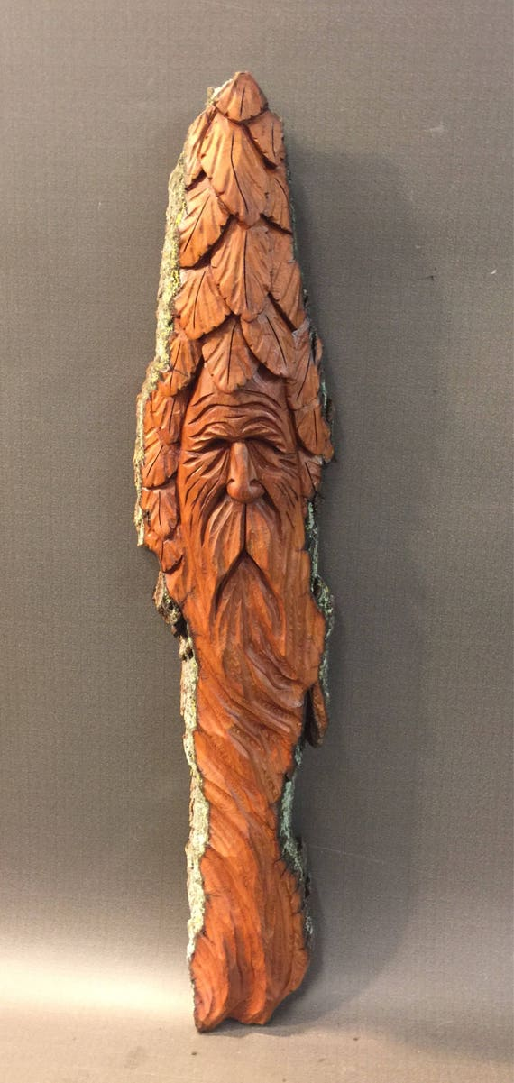 HAND CARVED original Wood Spirit w/ leaves from 100 year old Cottonwood Bark
