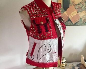 Custom painted vest, denim vest, punk vest, vest, denim jacket, denim, hand painted, custom jacket, red denim, distressed, studded