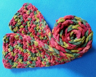 Autumn Colors Chenille Scarf, handmade crochet scarf, soft chenille scarf, one of a kind