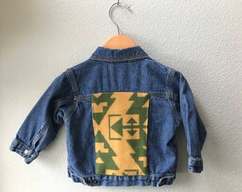 Kids Denim Vintage Jean Jacket with Oregon wool fabric appliques - Size 18 mo Native American Kids Denim Jacket-Kids Tribal Denim Jacket