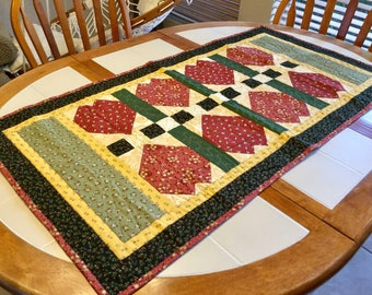 Quilted Table Runner in Red, Yellow, Black and Green, 48 Inches Long, Cotton