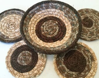 4 Coiled Fabric Coasters and 6 Inch Bowl Set, Candle Mat, Trivet,  Mug Rug - browns - Home and Living, Kitchen,  handmade