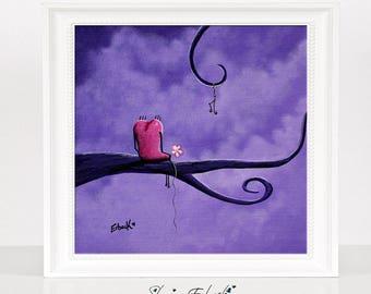 Love Song - Romantic Art - Dreamy Art - Pink Heart - Giclee Prints - Purple Wall Art - Erback Art - Colorful - Canvas Prints - Gifts