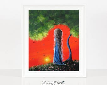 A Fresh New Day - Limited Edition Print - Colorful Art - Archival Giclee Print - Signed - Erback Art - Girl - Child - Fantasy - 8x10 - Happy
