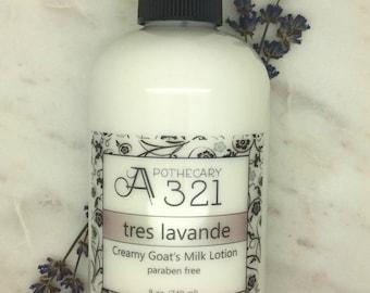 Tres Lavande Lavender Scented Natural Goat Milk Lotion Moisturizer with Skin Softening Alpha Hydroxy Acid Paraben Free